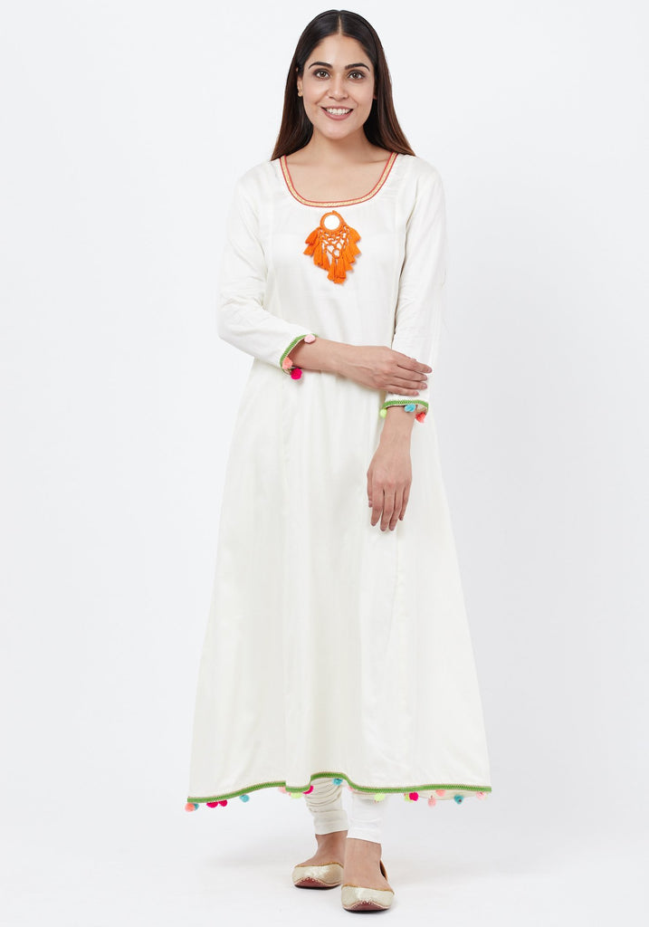 anokherang Combos Off-White Freedom Anarkali with Pom Pom with Leggings