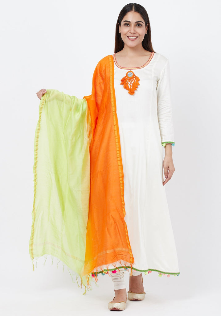 anokherang Combos Off-White Freedom Anarkali with Pom Pom with Leggings  and Freedon Chanderi Dupatta