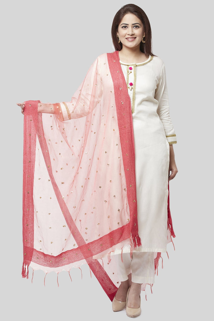 anokherang Combos Off-White Gotta Straight Kurti with Straight Pants and Coral Sequence Dupatta