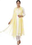 Off-White Lemon Parsi Embroidered Kurti with Crochet Pants & Lemon White Striped Dupatta