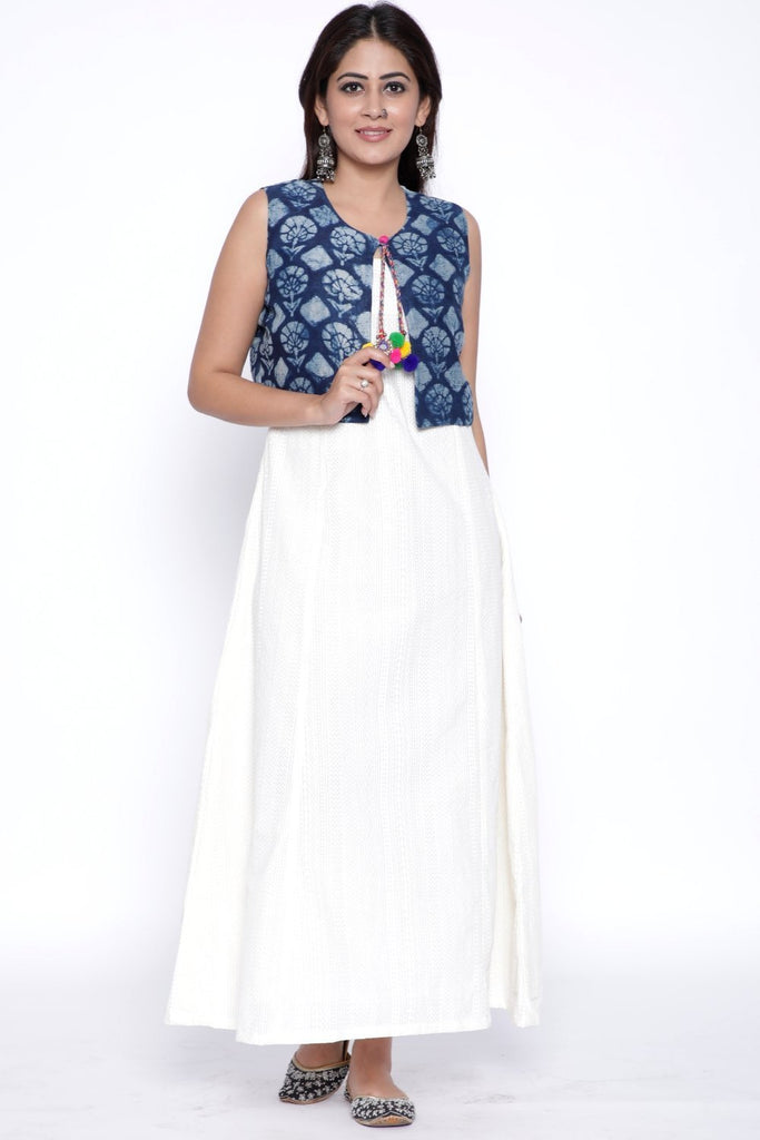 anokherang Combos Off-White Paneled Ankle Length Kurti with Indigo Printed Jacket