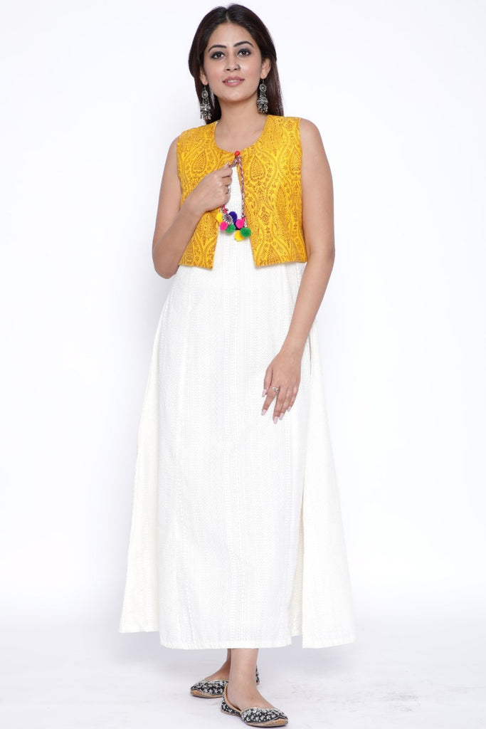 anokherang Combos Off-White Paneled Ankle Length Kurti with Yellow Printed Jacket
