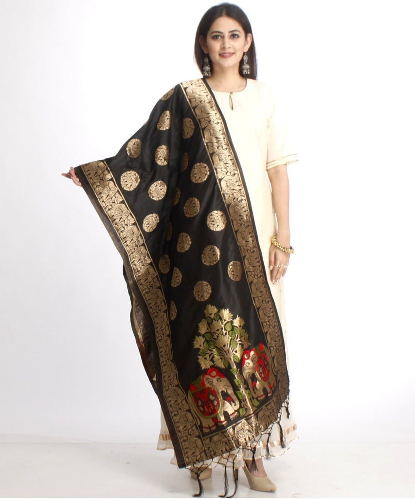 anokherang Combos Off-White Straight Kurti with Off-White Gota Gathered Sharara and Black Elephant Embroidered Banarsi Stole