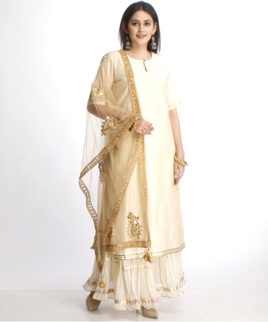 anokherang Combos Off-White Straight Kurti with Off-White Gota Gathered Sharara and Net Paisley Mirror Embroidered Dupatta