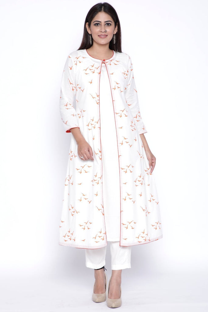 anokherang Combos OffWhite Orange Birds Printed Cape and Kurti