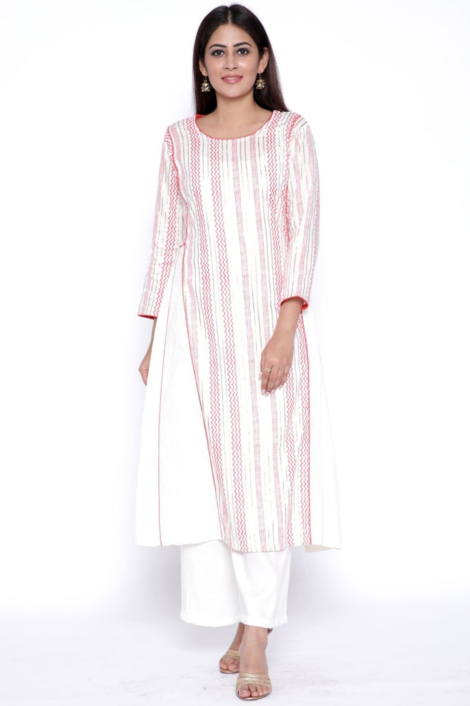 anokherang Combos OffWhite Red Side Paneled Kurti with Straight Palazzos