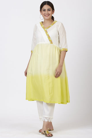 Ombre Yellow Gathered Kurti with Crochet Pants