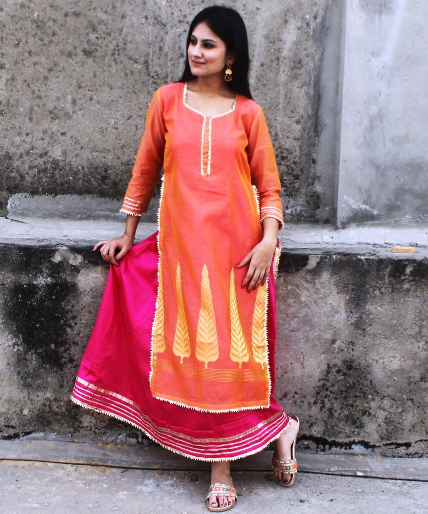 anokherang Combos Orange Tangled Double Layered Gotta Kurti
