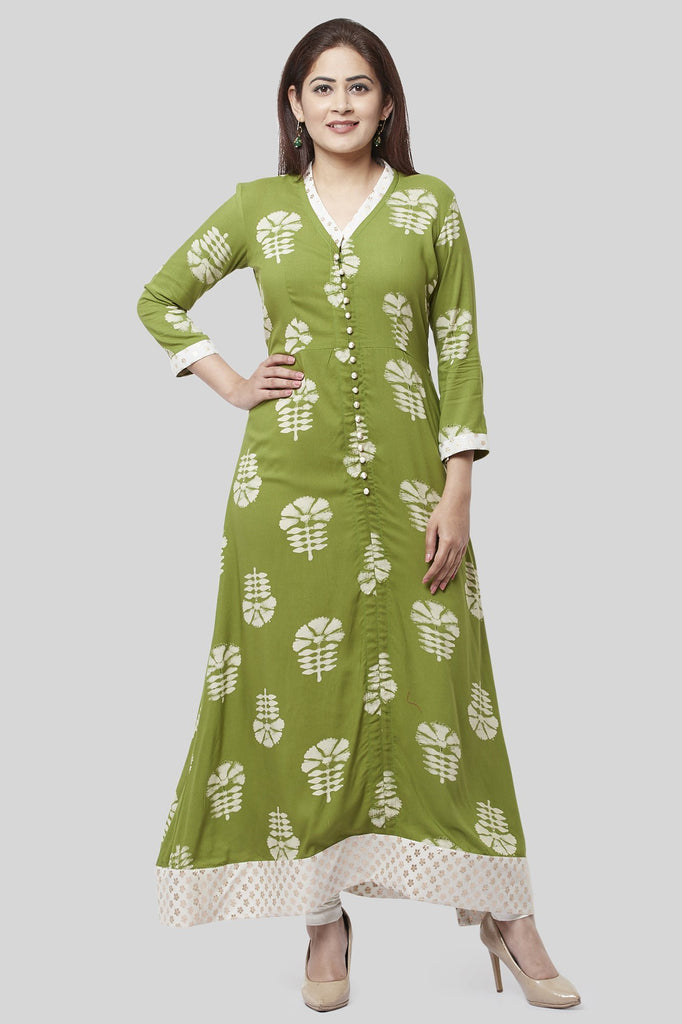 anokherang Combos Pale Green Festive Kurti with Off-White Churidaar