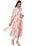 Peach Floral Georgette Kurti with Churidaar and Chiffon Dupatta