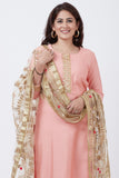 anokherang Combos Peach Gotta Patti Floral Kurti with Pants and Golden Floral Gotta Patti Dupatta