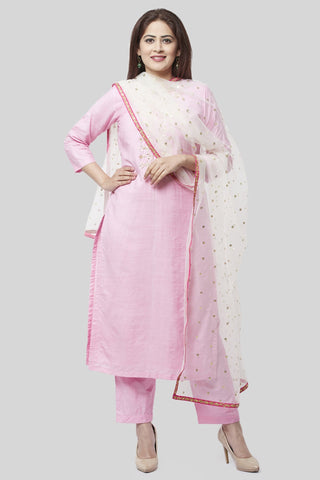 Pearl Blush Embroidered Kurti with Straight Pants and Off-White Sequence Dupatta with Hot Pink Border