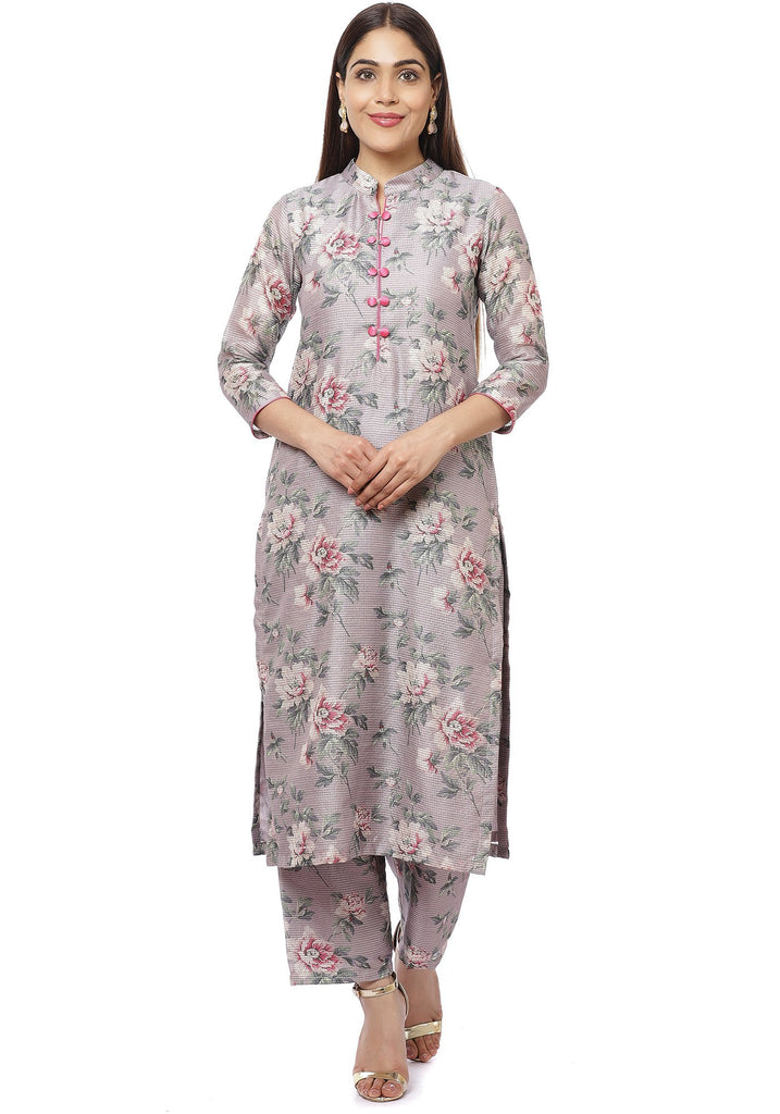 anokherang Combos Pearl Purple Floral Thread Straight Kurti with Straight Palazzos