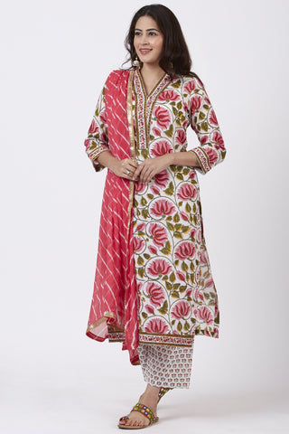 Pink Floral Hues Straight Kurti with Straight Pants and Leheriya Dupatta