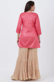 anokherang Combos Pink Khadhi Print Short Kurti with Golden Sharara