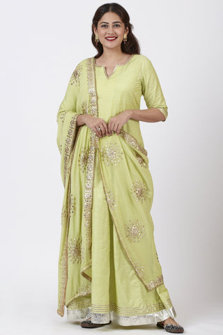 Pista Green Gotta Floor Length Silk Kurti Dress with Gotta Patti Floral Chiffon Dupatta
