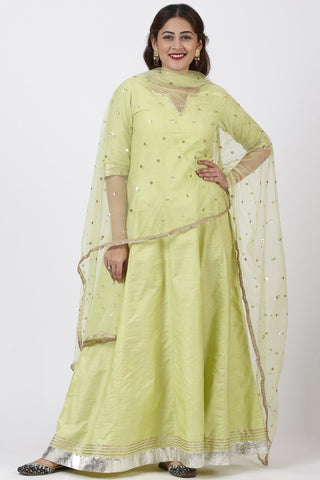 Pista Green Kurti Dress with Net Sequins Dupatta