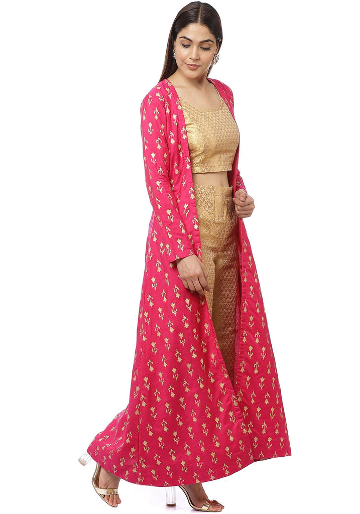 anokherang Combos Pixie Pink Jacket Style Kurti with Gold Brocade Blouse and Palazzo