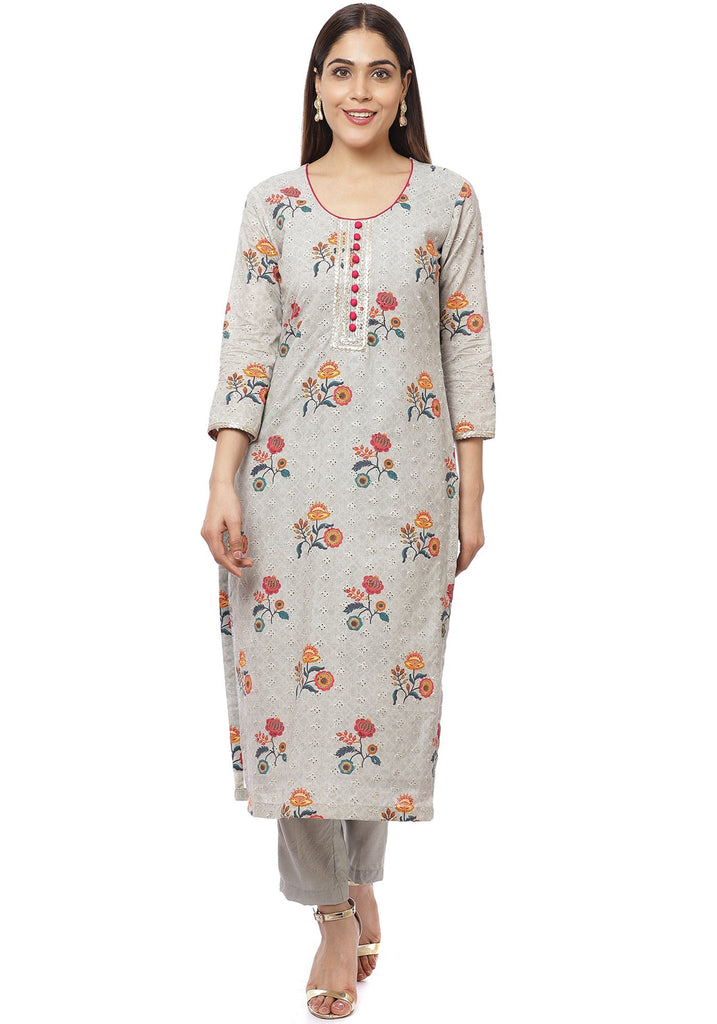 anokherang Combos Platinum Gray Floral Kurti with Straight Pants