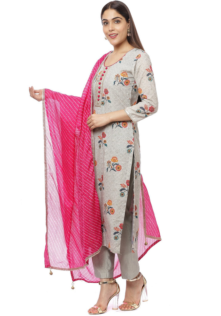 anokherang Combos Platinum Gray Floral Kurti with Straight Pants and Pink Mothra Dupatta