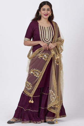 Plum Embroided Kurti and Crushed Ghararas with Golden Paisley Dupatta