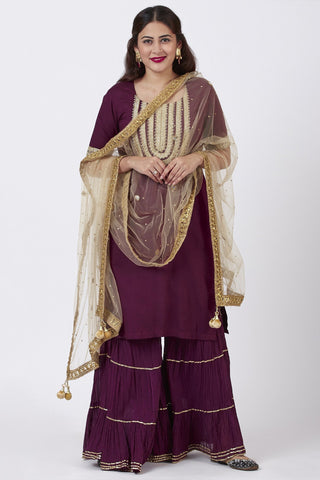 Plum Embroidered Kurti With Crushed Gharara and Gold Mirror Net Dupatta