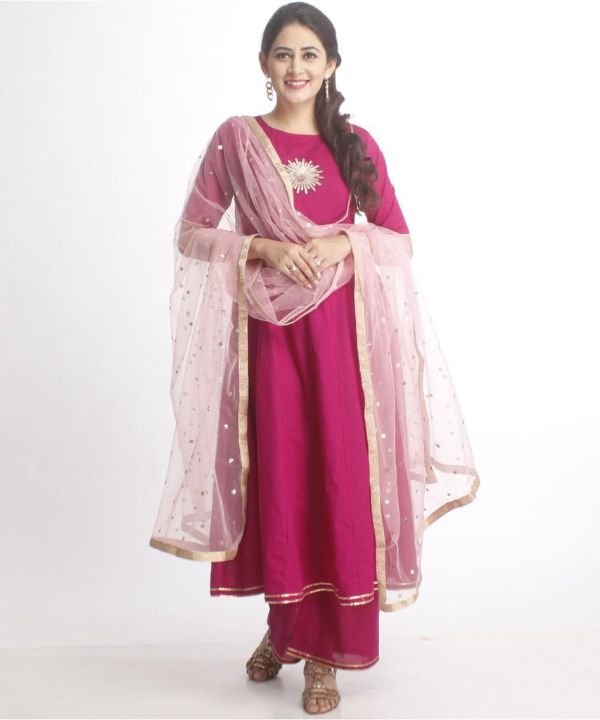 Purple Flower Anarkali with Straight Palazzo and Net Sequenced Dupatta