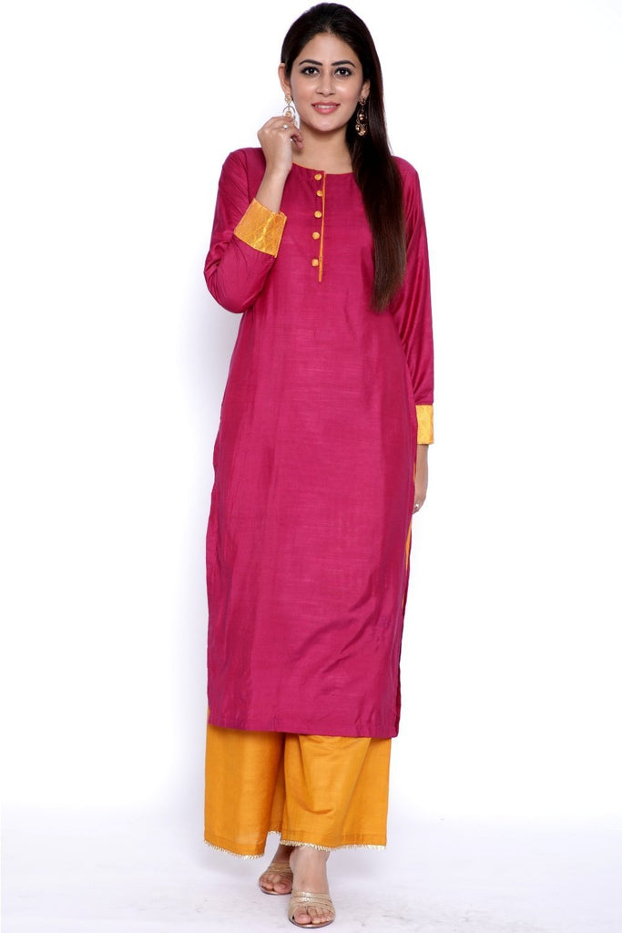 anokherang Combos Purple Gold Kurti with Flared Palazzo