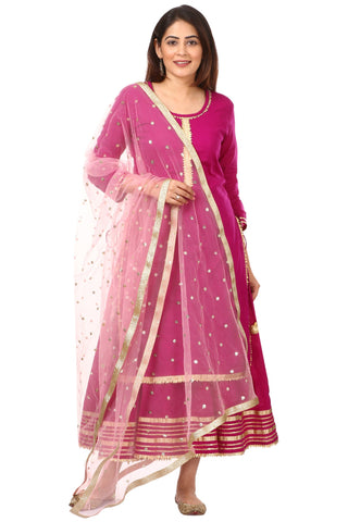 Purple Gotta Double Layered Floor Length Kurti with Net Sequence Dupatta