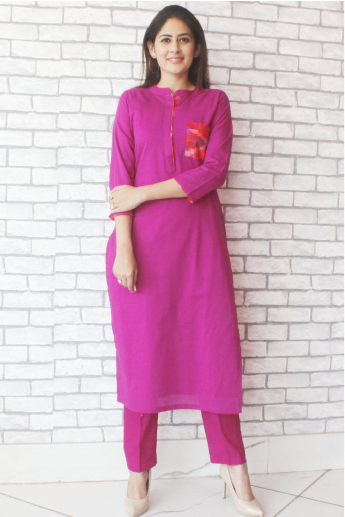 anokherang Combos Purple Ikkat Pocket Straight Kurti with Pants