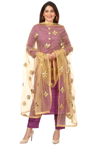 Purple Kundan Silk Kurti with Straight Pants and Golden Flower Dupatta