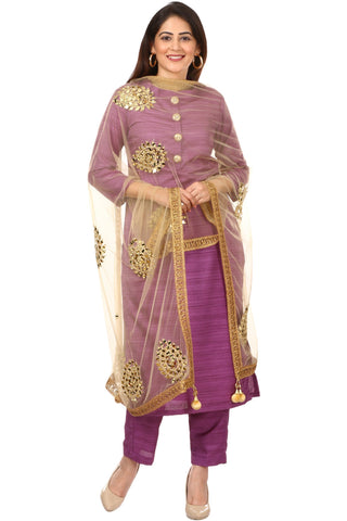 Purple Kundan Silk Kurti with Straight Pants and Net Mirror Paisley Dupatta