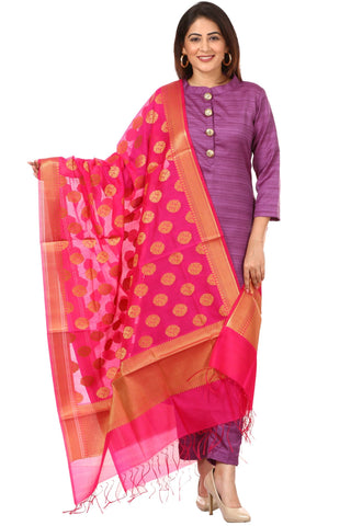 Purple Kundan Silk Kurti with Straight Pants and Pink Banarsi Dupatta