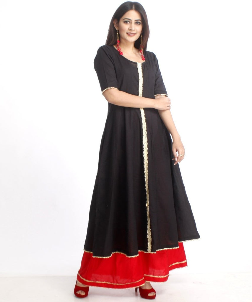 anokherang Combos Red and Black Gotta Anarkali with Flared Palazzo