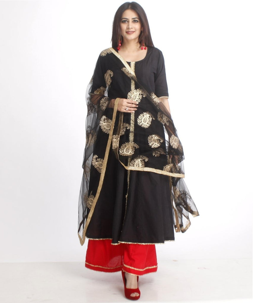 anokherang Combos Red and Black Gotta Anarkali with Flared Palazzo and Net Embroidered Dupatta