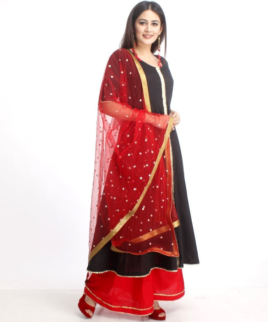 anokherang Combos Red and Black Gotta Anarkali with Flared Palazzo and Red Sequenced Dupatta