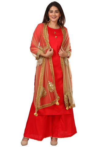 Red Jacket Style Kurti and Flared Palazzos with Gold Mirror Paisley Dupatta