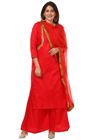 Red Jacket Style Kurti and Flared Palazzos with Red Chiffon Dupatta
