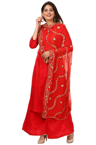 Red Jacket Style Kurti and Flared Palazzos with Red Chiffon Gotta Patti Dupatta