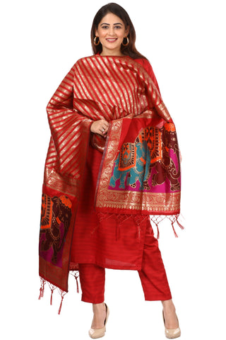 Red Kundan Silk Kurti with Straight Pants and Red Elephant Banarsi Dupatta