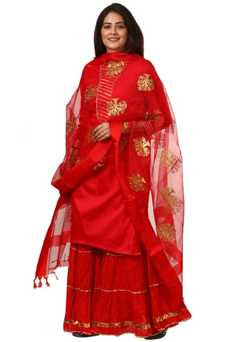 Red Shine Kurti with Gathered Sharara and Embroidered Dupatta