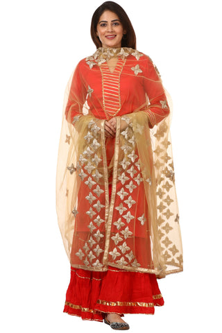 Red Shine Kurti with Gotta Gathered Sharara and Gold Net Light Gold Gotta Dupatta