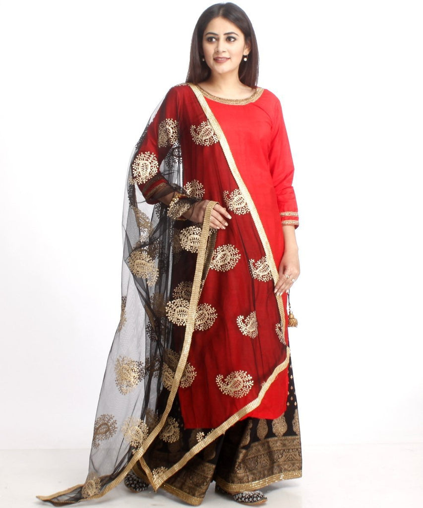 anokherang Combos Red Silk Long Kurti and Black Printed Kalidaar Palazzo with Net Gold Embroidered Dupatta