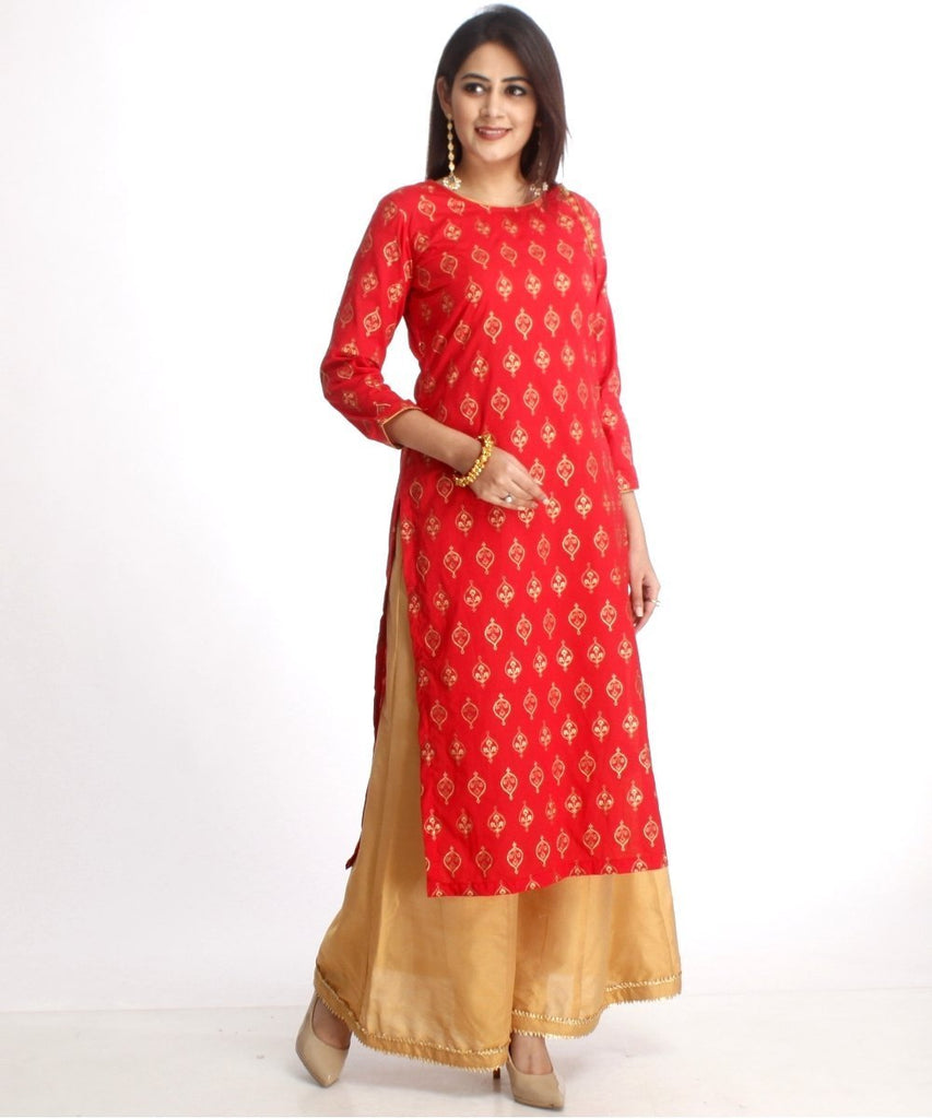 anokherang Combos Red Straight Kurti with Gold Kalidaar Palazzos