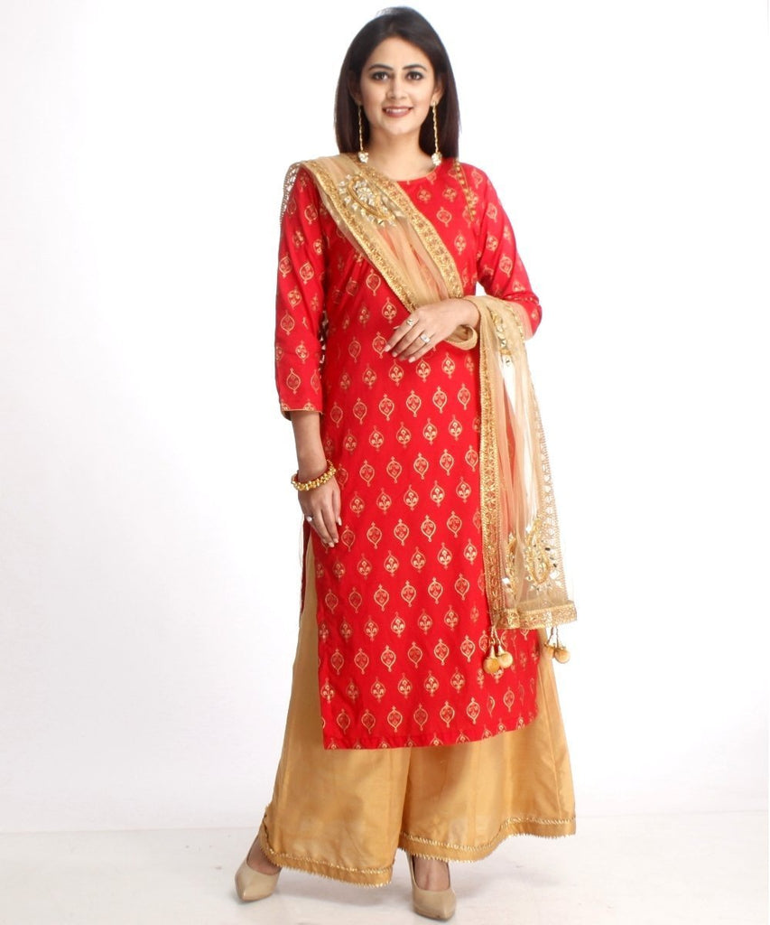 anokherang Combos Red Straight Kurti with Gold Kalidaar Palazzos and Mirror Paisley Work Dupatta