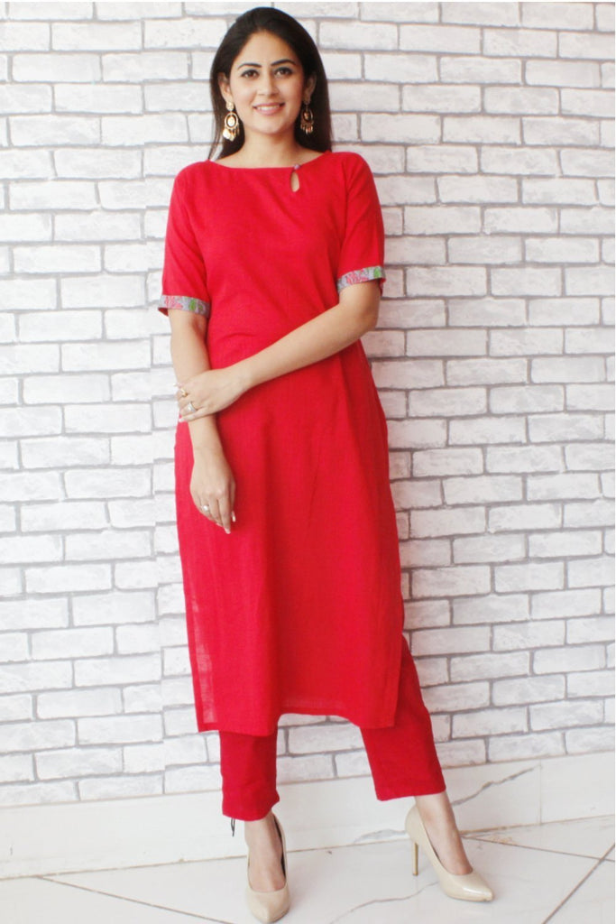 anokherang Combos Red Straight Kurti with Red Straight pants
