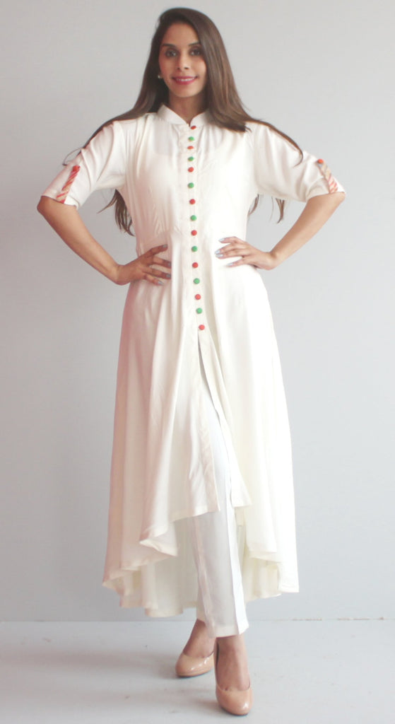 anokherang Combos S Free Spirit Uneven Off White Kurti with Pants