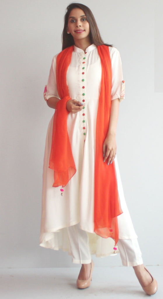 anokherang Combos S Free Spirit Uneven Off White Kurti with Pants and Orange Chiffon Dupatta