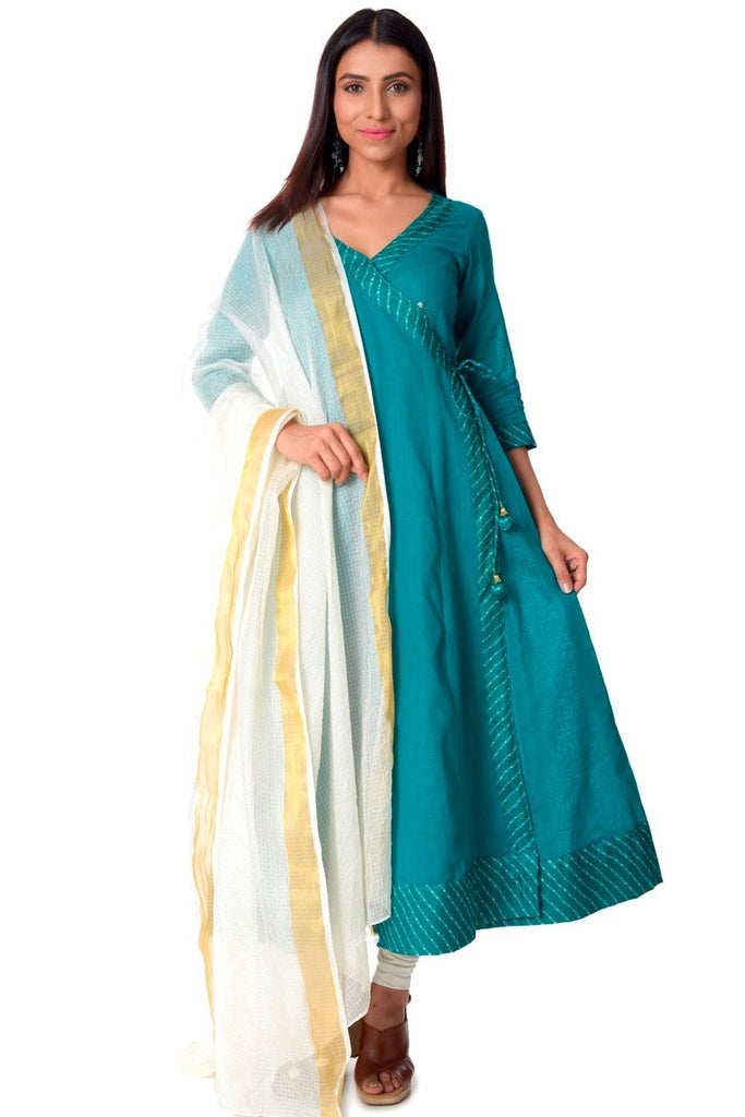 anokherang Combos Sea Green Angrakha with Leggings and Kota Dupatta