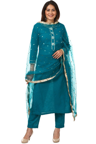 Sea Green Gotta Work Kurti with Straight Pants and Net Sequenced Dupatta